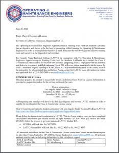 State of CA Unit 12 Certification Classes Letter V3